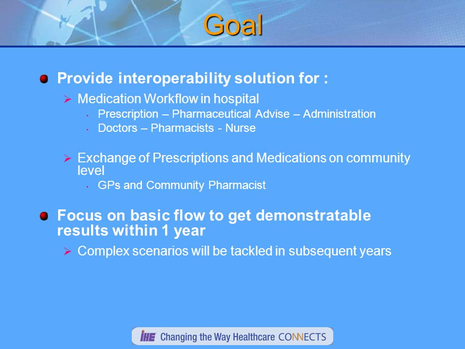 Goal Provide interoperability solution for : Medication Workflow in hospital Prescription – Pharmaceutical Advise – Administration Doctors – Pharmacists - Nurse Exchange of Prescriptions and Medications on community level GPs and Community Pharmacist Focus on basic flow to get demonstratable results within 1 year Complex scenarios will be tackled in subsequent years