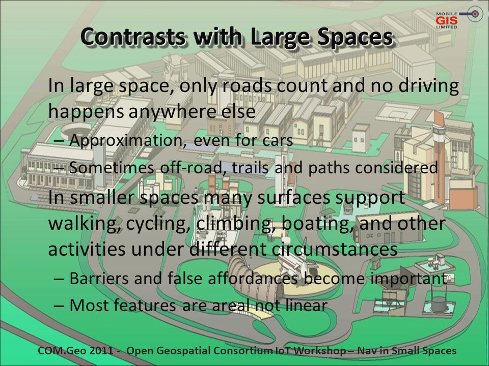 Contrasts with Large Spaces In large space, only roads count and no driving happens anywhere else – Approximation, even for cars – Sometimes off-road,