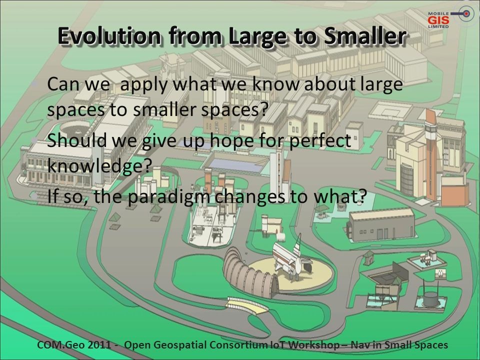 Evolution from Large to Smaller Can we apply what we know about large spaces to smaller spaces? Should we give up hope for perfect knowledge? If so, t