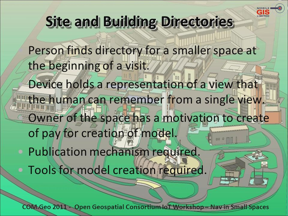 Site and Building Directories Person finds directory for a smaller space at the beginning of a visit. Device holds a representation of a view that the
