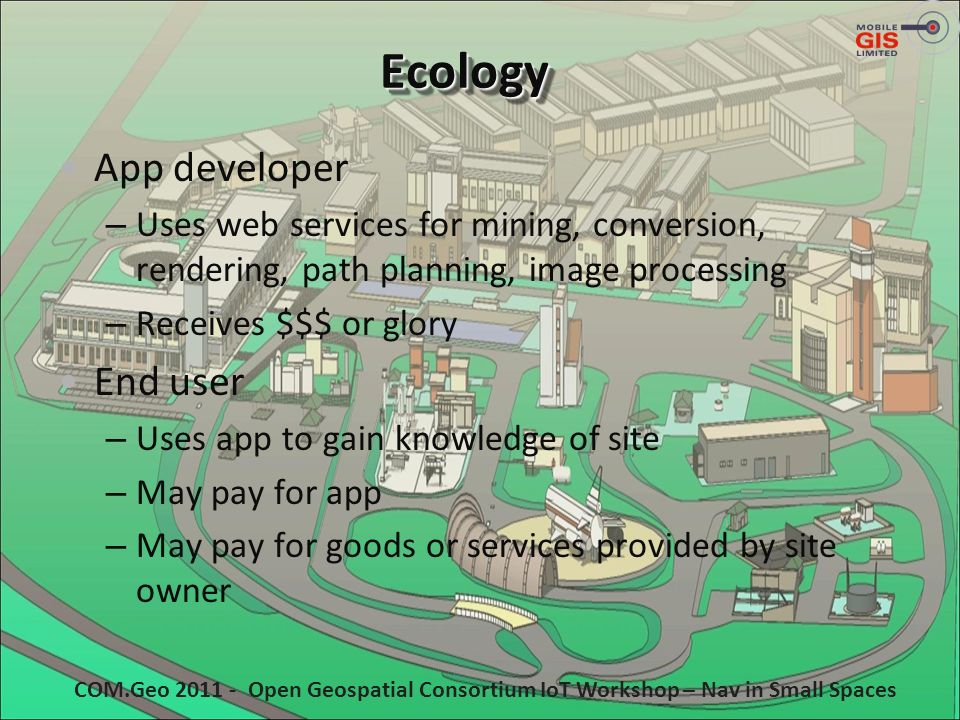 EcologyEcology App developer – Uses web services for mining, conversion, rendering, path planning, image processing – Receives $$$ or glory End user –