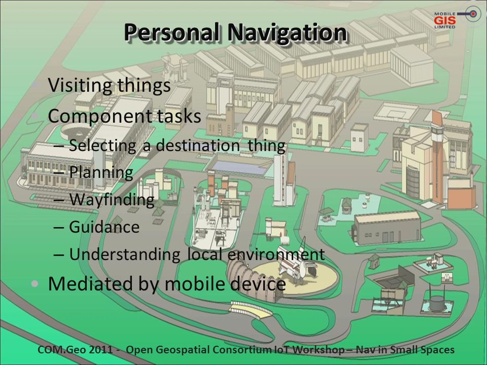 Personal Navigation Visiting things Component tasks – Selecting a destination thing – Planning – Wayfinding – Guidance – Understanding local environme