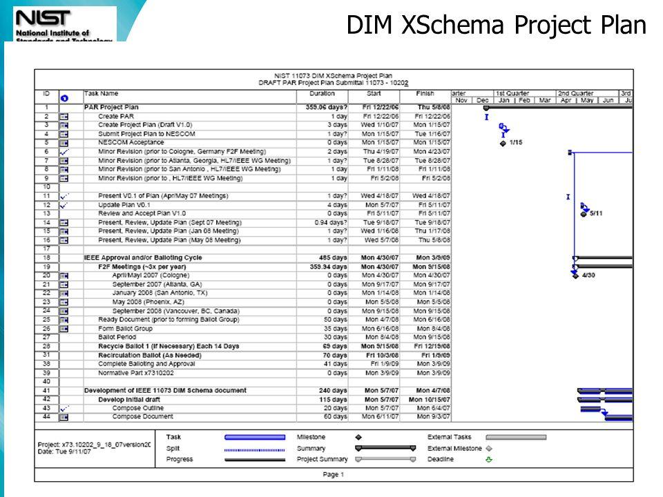 Software Diagnostics and Conformance Testing Division DIM XSchema Project Plan