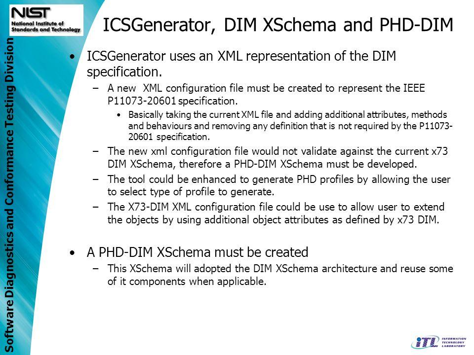 Software Diagnostics and Conformance Testing Division ICSGenerator, DIM XSchema and PHD-DIM ICSGenerator uses an XML representation of the DIM specifi