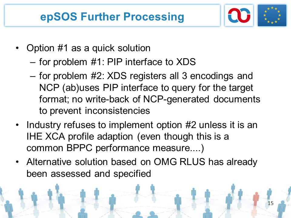 15 epSOS Further Processing Option #1 as a quick solution –for problem #1: PIP interface to XDS –for problem #2: XDS registers all 3 encodings and NCP