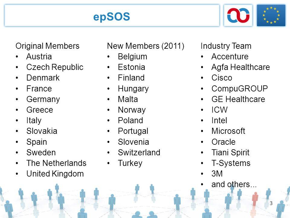 3 epSOS Original Members Austria Czech Republic Denmark France Germany Greece Italy Slovakia Spain Sweden The Netherlands United Kingdom New Members (