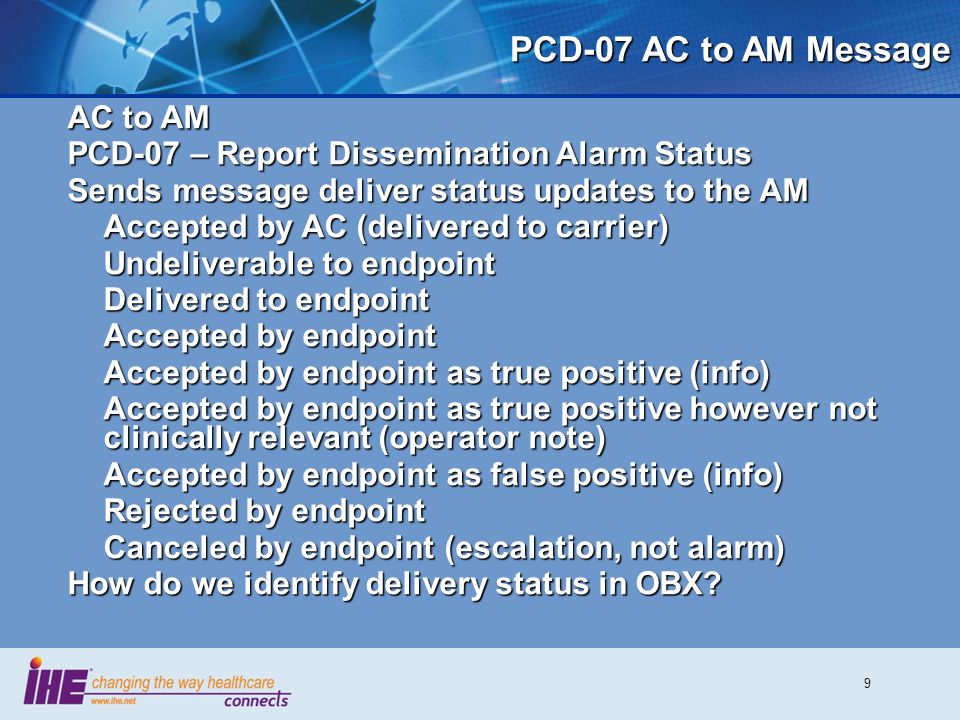 9 PCD-07 AC to AM Message AC to AM PCD-07 – Report Dissemination Alarm Status Sends message deliver status updates to the AM Accepted by AC (delivered