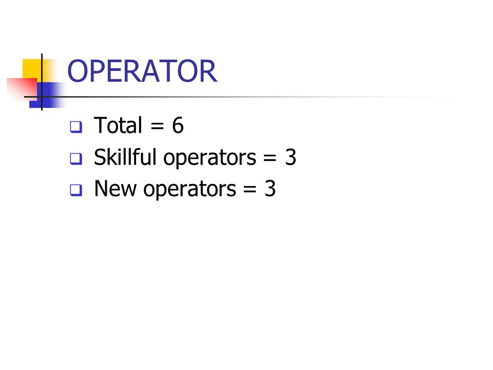 OPERATOR Total = 6 Skillful operators = 3 New operators = 3