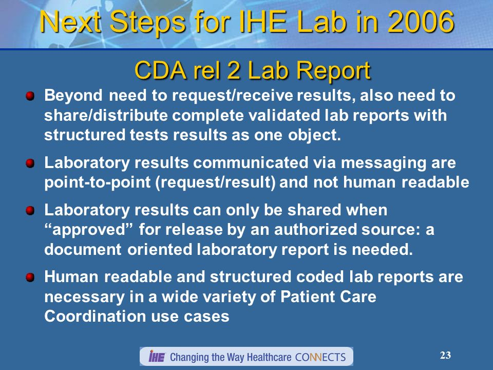 23 Next Steps for IHE Lab in 2006 CDA rel 2 Lab Report Beyond need to request/receive results, also need to share/distribute complete validated lab re