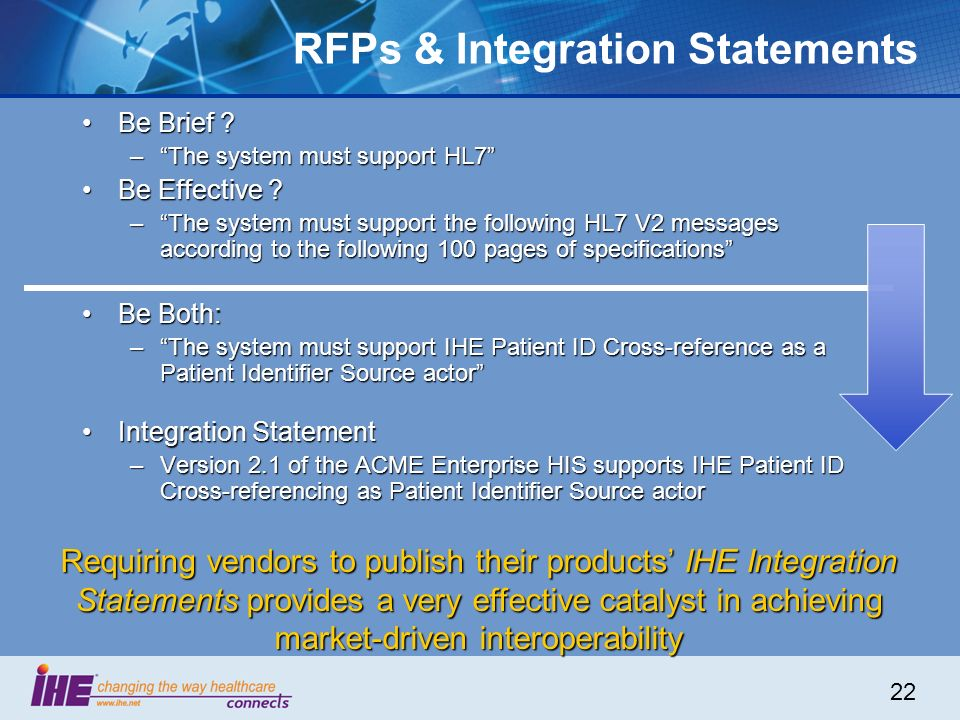 22 RFPs & Integration Statements Be Brief ?Be Brief ? –The system must support HL7 Be Effective ?Be Effective ? –The system must support the following