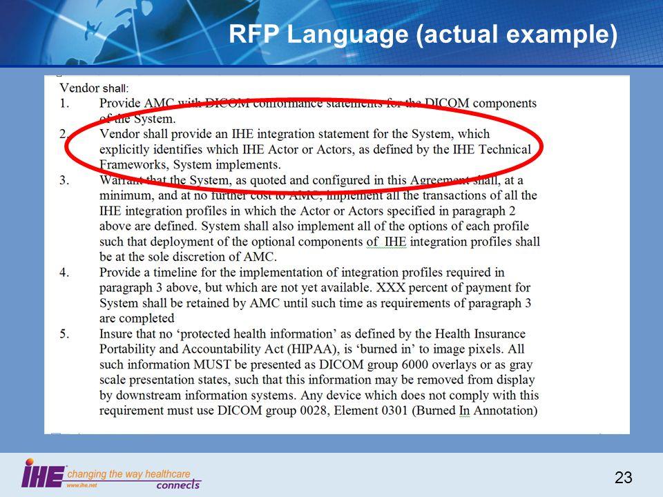 23 RFP Language (actual example)
