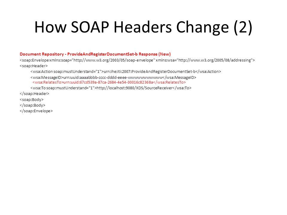 How SOAP Headers Change (2) Document Repository - ProvideAndRegisterDocumentSet-b Response (New) urn:ihe:iti:2007:ProvideAndRegisterDocumentSet-b urn: