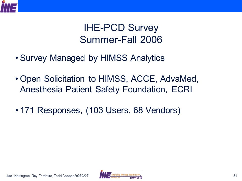 Jack Harrington, Ray Zambuto, Todd Cooper 2007022731 IHE-PCD Survey Summer-Fall 2006 Survey Managed by HIMSS Analytics Open Solicitation to HIMSS, ACCE, AdvaMed, Anesthesia Patient Safety Foundation, ECRI 171 Responses, (103 Users, 68 Vendors)