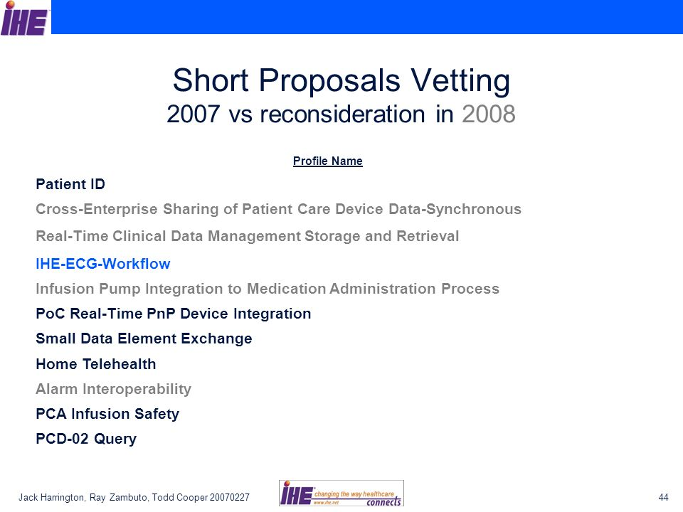 Jack Harrington, Ray Zambuto, Todd Cooper Short Proposals Vetting 2007 vs reconsideration in 2008 Profile Name Patient ID Cross-Enterprise Sharing of Patient Care Device Data-Synchronous Real-Time Clinical Data Management Storage and Retrieval IHE-ECG-Workflow Infusion Pump Integration to Medication Administration Process PoC Real-Time PnP Device Integration Small Data Element Exchange Home Telehealth Alarm Interoperability PCA Infusion Safety PCD-02 Query