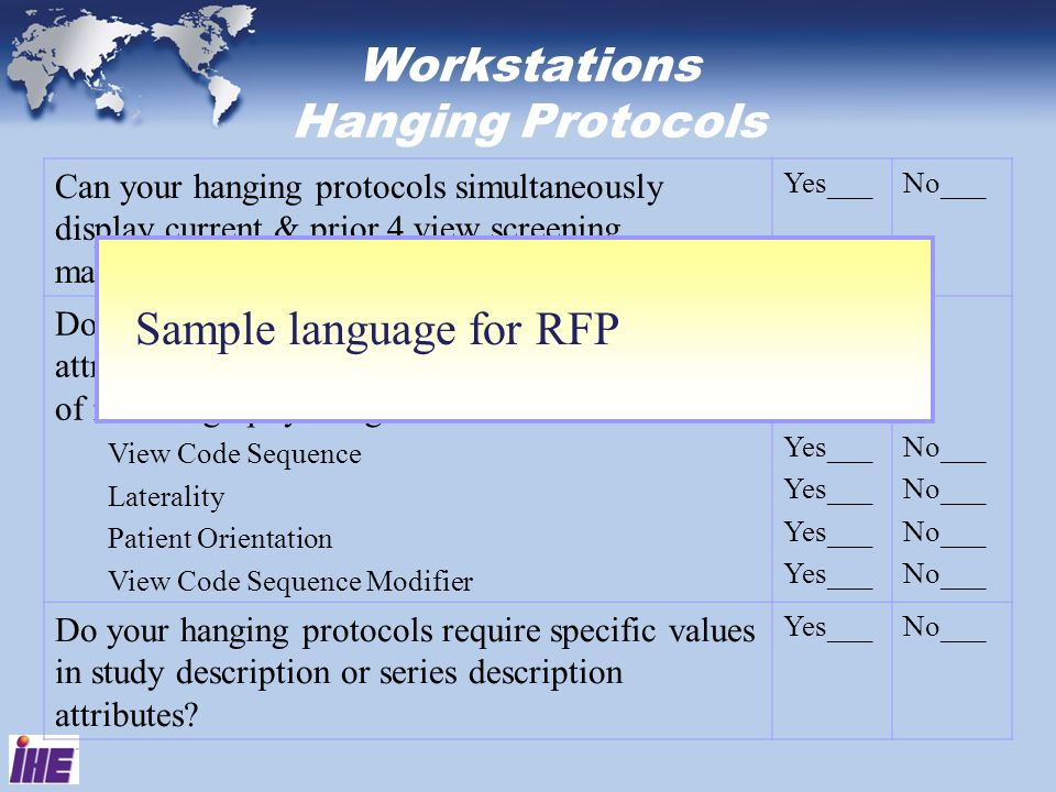 Workstations Hanging Protocols Can your hanging protocols simultaneously display current & prior 4 view screening mammographic images? Yes___No___ Do