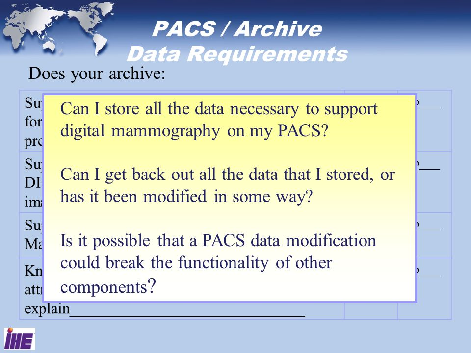 PACS / Archive Data Requirements Does your archive: Support storing and returning in tact all attributes for DICOM Digital Mammography-for presentatio