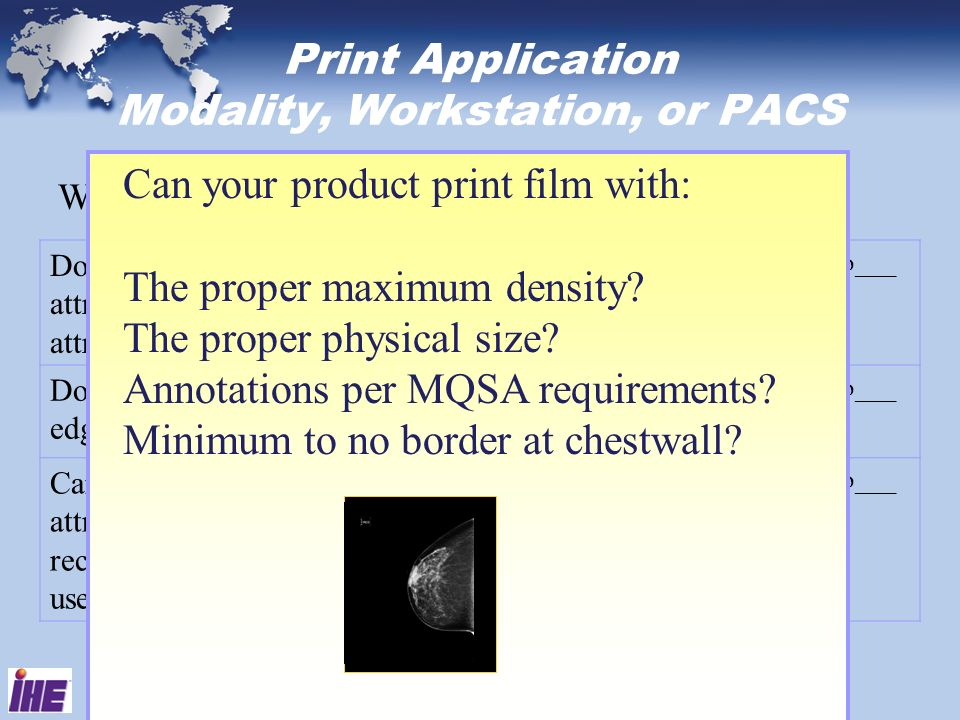 Print Application Modality, Workstation, or PACS When printing: Does your product use the Imager Pixel Spacing attribute to send the Requested Image S