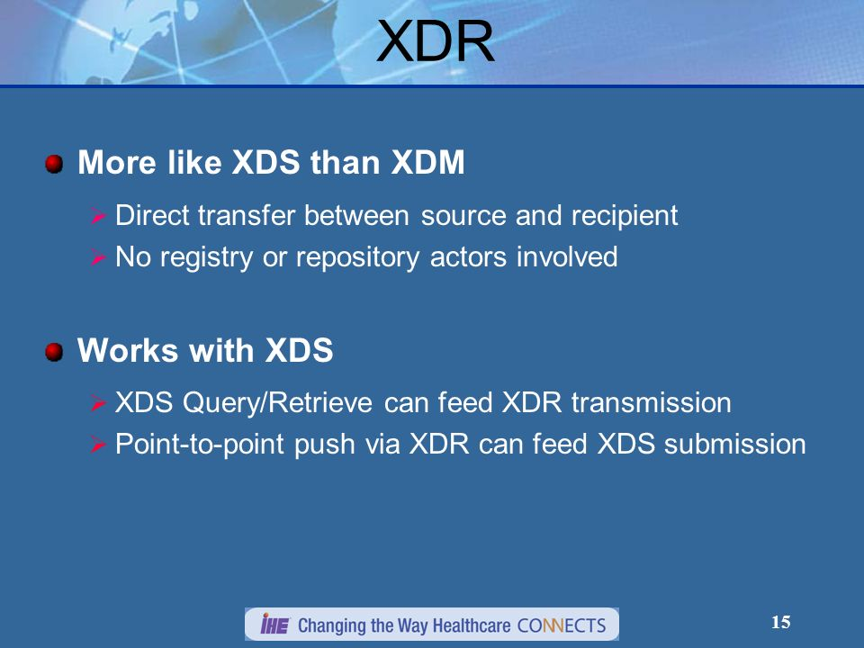 15 More like XDS than XDM Direct transfer between source and recipient No registry or repository actors involved Works with XDS XDS Query/Retrieve can