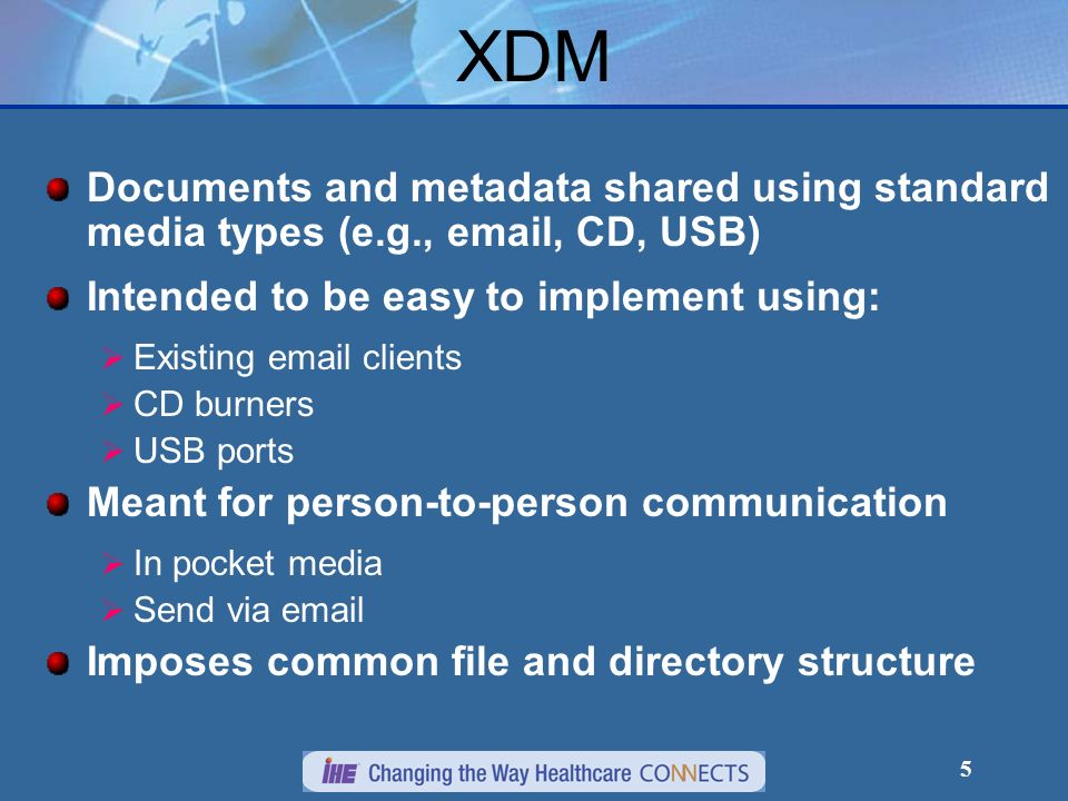 5 XDM Documents and metadata shared using standard media types (e.g., email, CD, USB) Intended to be easy to implement using: Existing email clients C