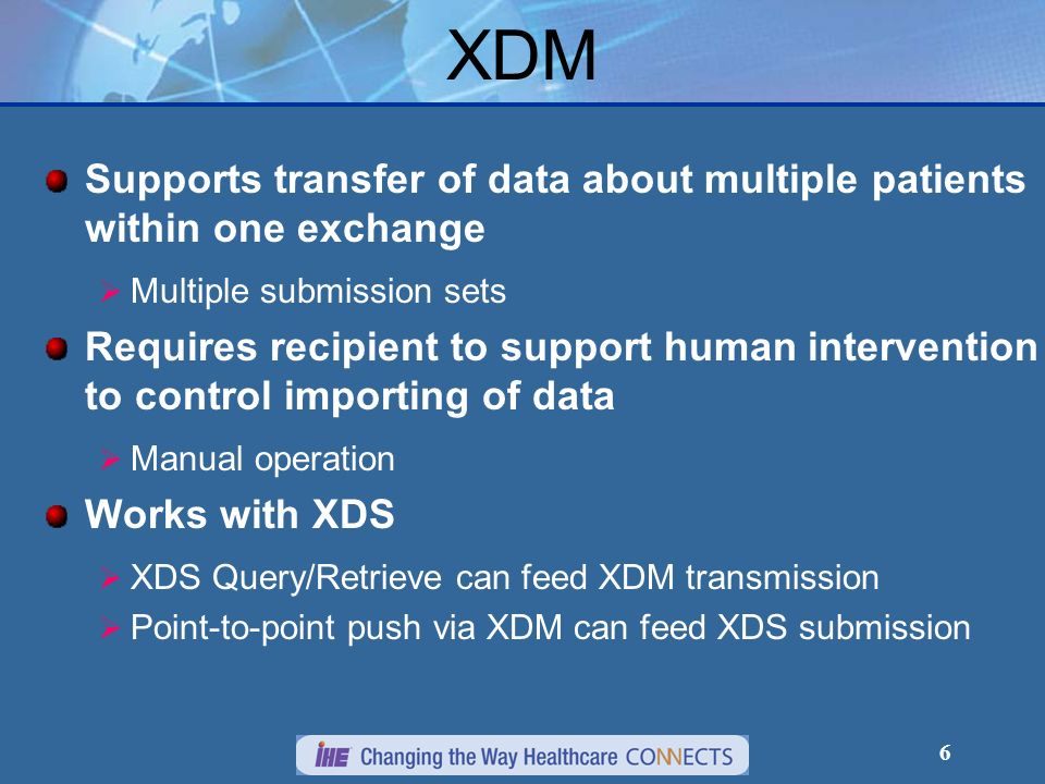 6 XDM Supports transfer of data about multiple patients within one exchange Multiple submission sets Requires recipient to support human intervention