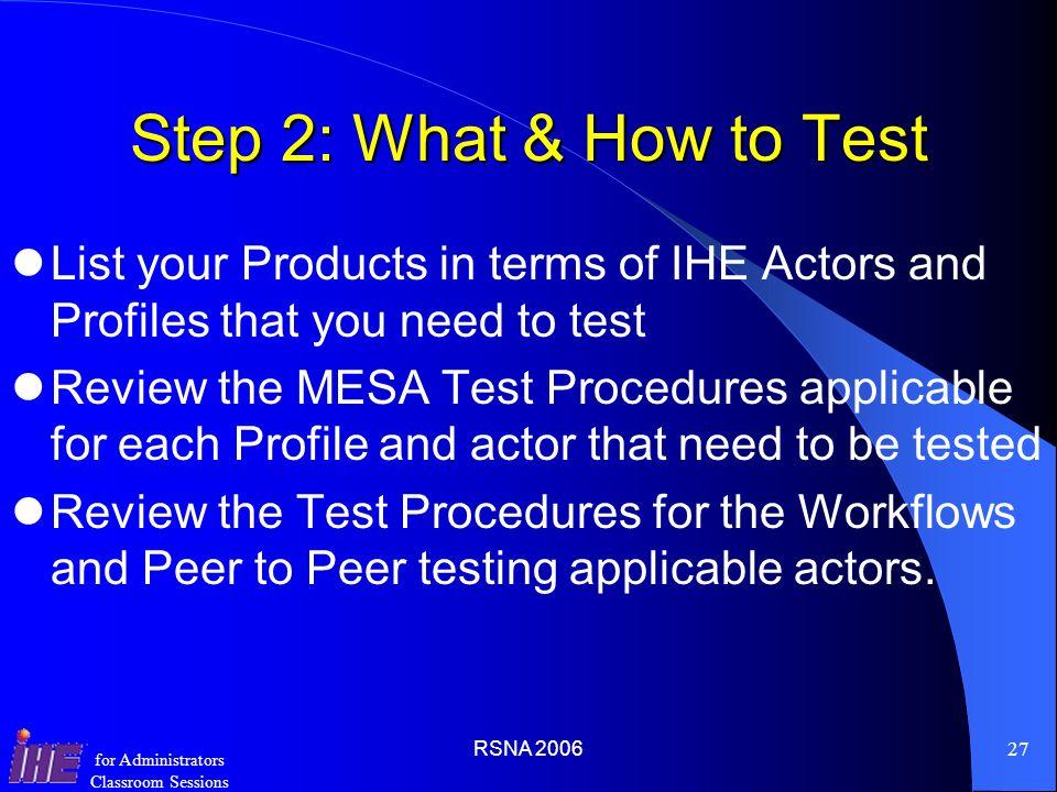RSNA 200626 for Administrators Classroom Sessions MESA Tools http://www.erl.wustl.edu/mesa/index.html