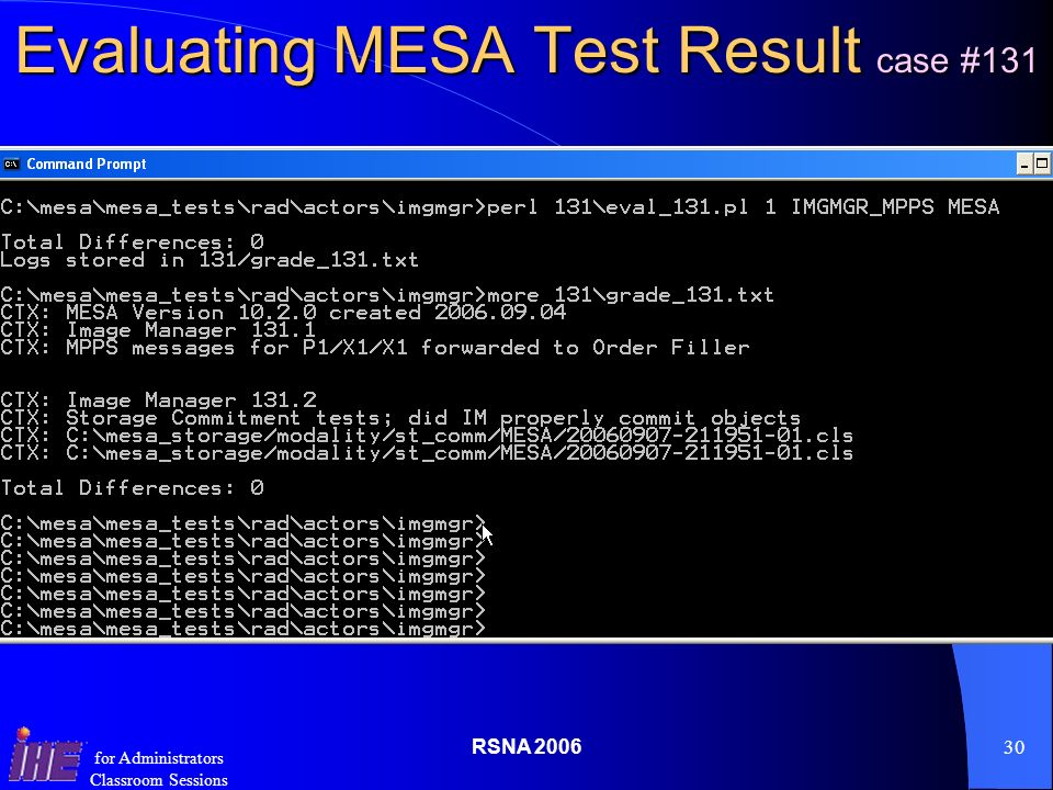 RSNA for Administrators Classroom Sessions Evaluating MESA Test Result case #131