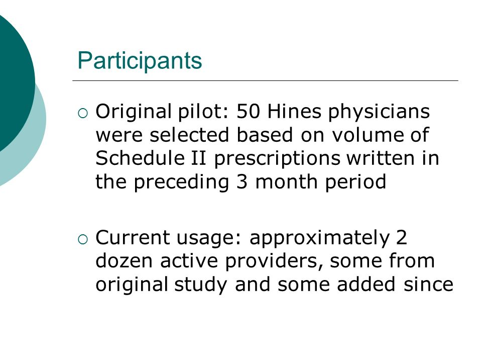 Participants Original pilot: 50 Hines physicians were selected based on volume of Schedule II prescriptions written in the preceding 3 month period Cu