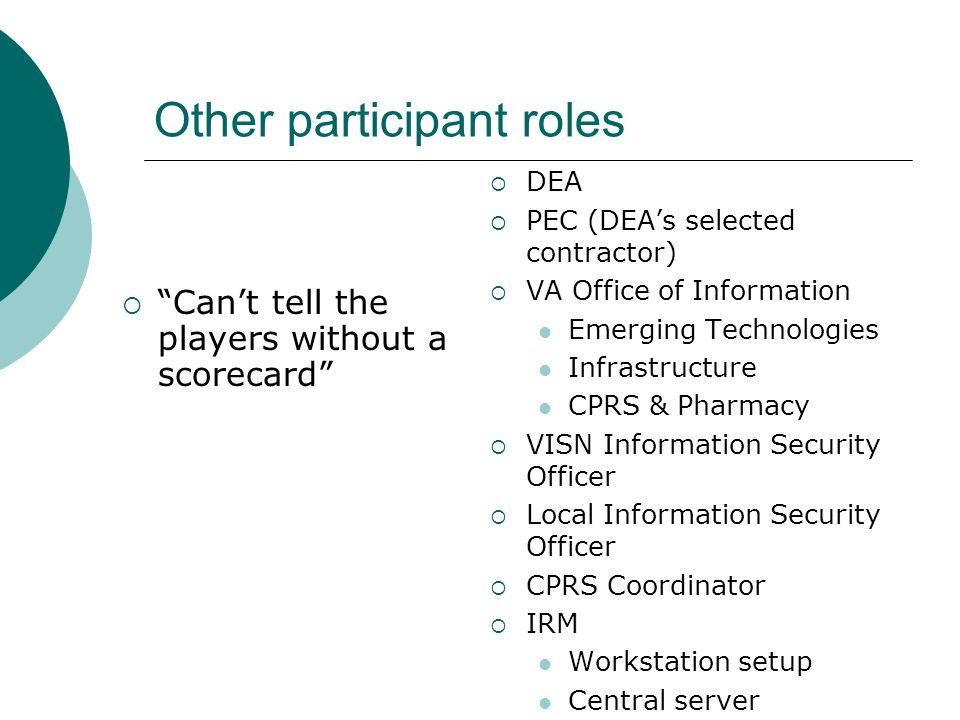 Other participant roles Cant tell the players without a scorecard DEA PEC (DEAs selected contractor) VA Office of Information Emerging Technologies In