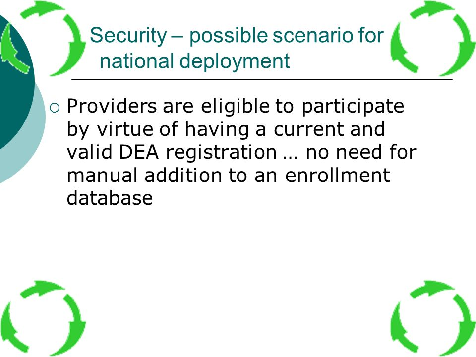 Security – possible scenario for national deployment Providers are eligible to participate by virtue of having a current and valid DEA registration …