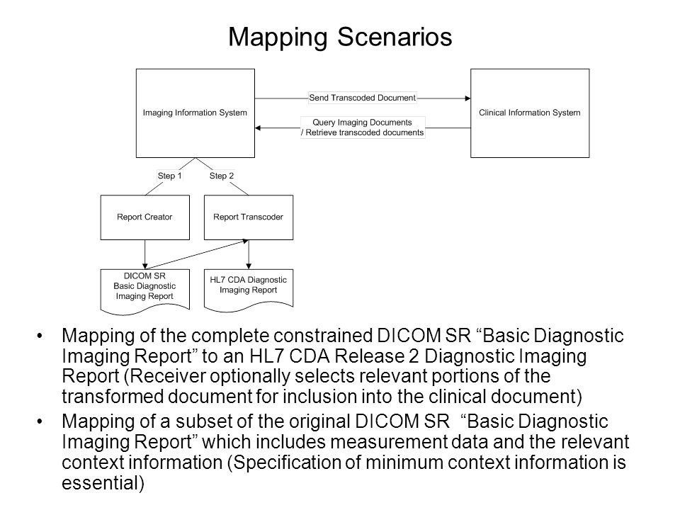 Mapping Scenarios Mapping of the complete constrained DICOM SR Basic Diagnostic Imaging Report to an HL7 CDA Release 2 Diagnostic Imaging Report (Rece