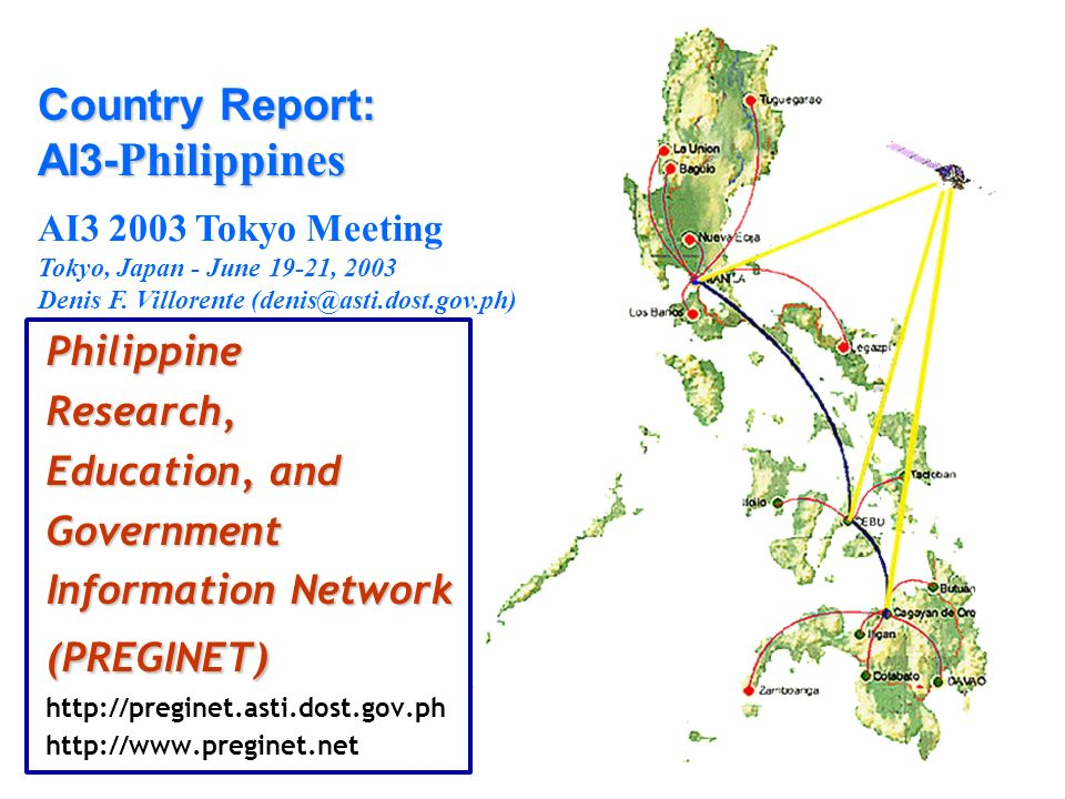 PhilippineResearch, Education, and Government Information Network (PREGINET) http://preginet.asti.dost.gov.ph http://www.preginet.net Country Report: