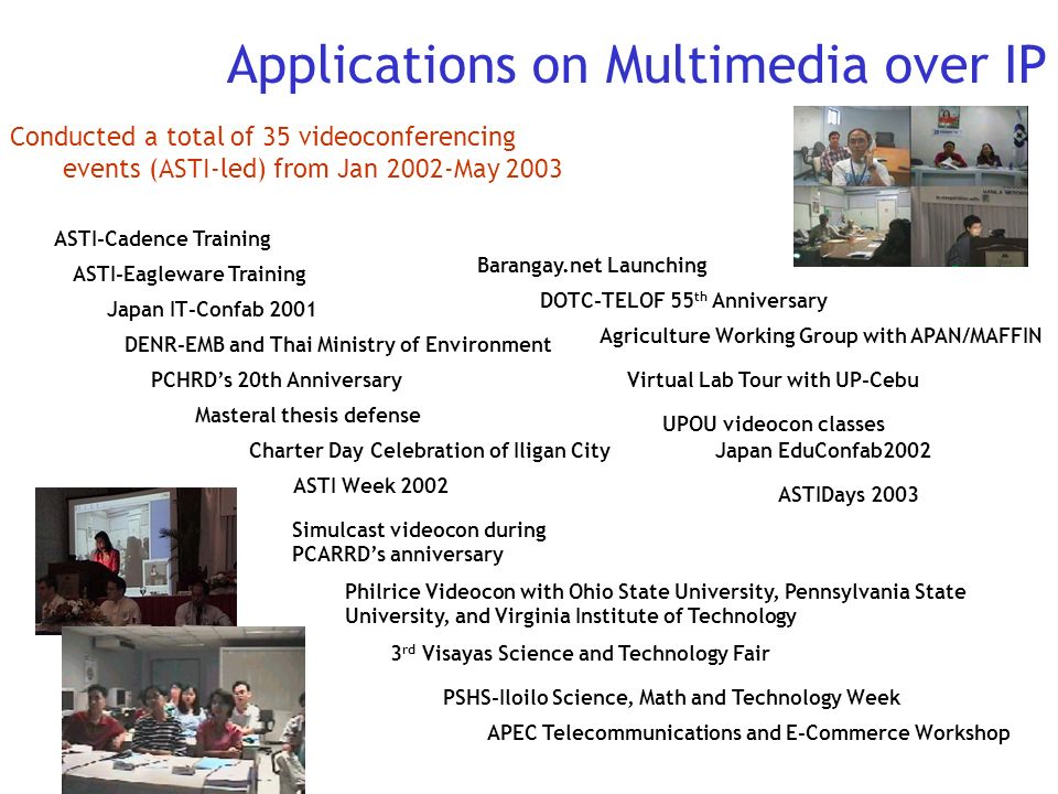 Conducted a total of 35 videoconferencing events (ASTI-led) from Jan 2002-May 2003 DENR-EMB and Thai Ministry of Environment Barangay.net Launching AS