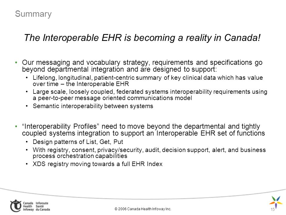 © 2006 Canada Health Infoway Inc. 15 Summary The Interoperable EHR is becoming a reality in Canada! Our messaging and vocabulary strategy, requirement