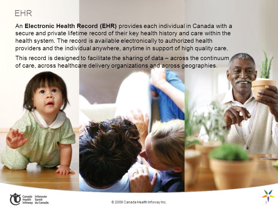 EHR An Electronic Health Record (EHR) provides each individual in Canada with a secure and private lifetime record of their key health history and car