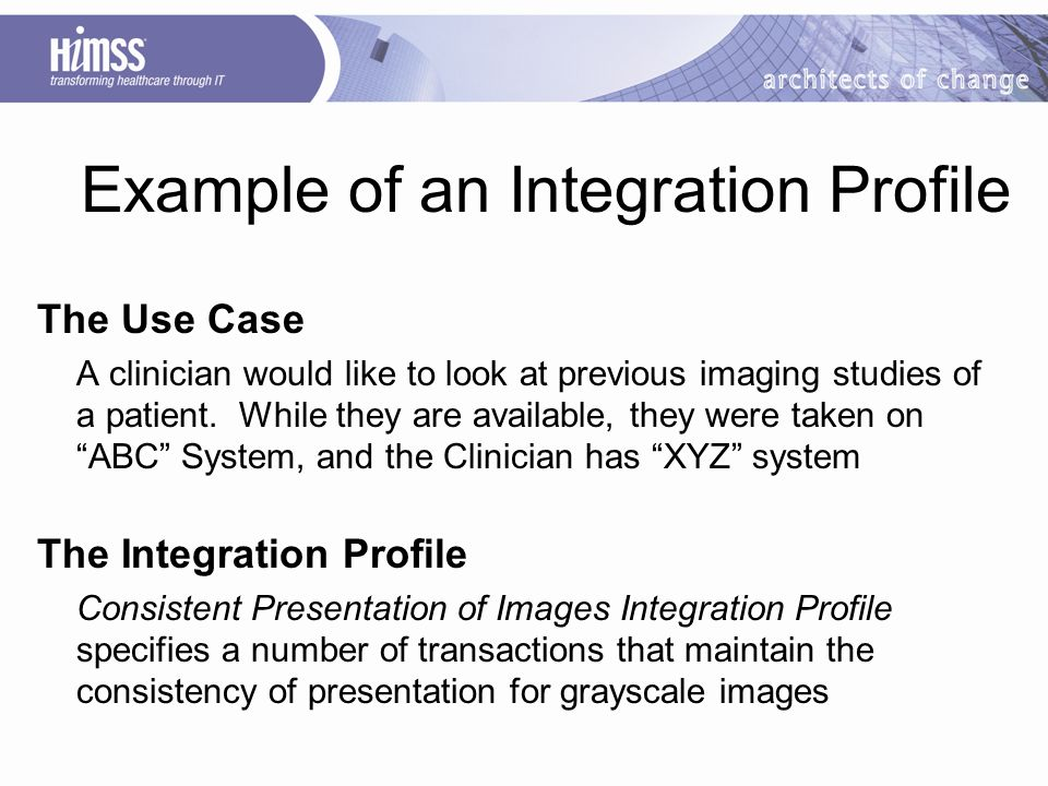 The Use Case A clinician would like to look at previous imaging studies of a patient.