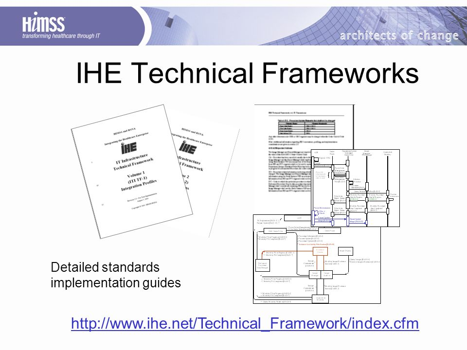 IHE Technical Frameworks Detailed standards implementation guides http://www.ihe.net/Technical_Framework/index.cfm