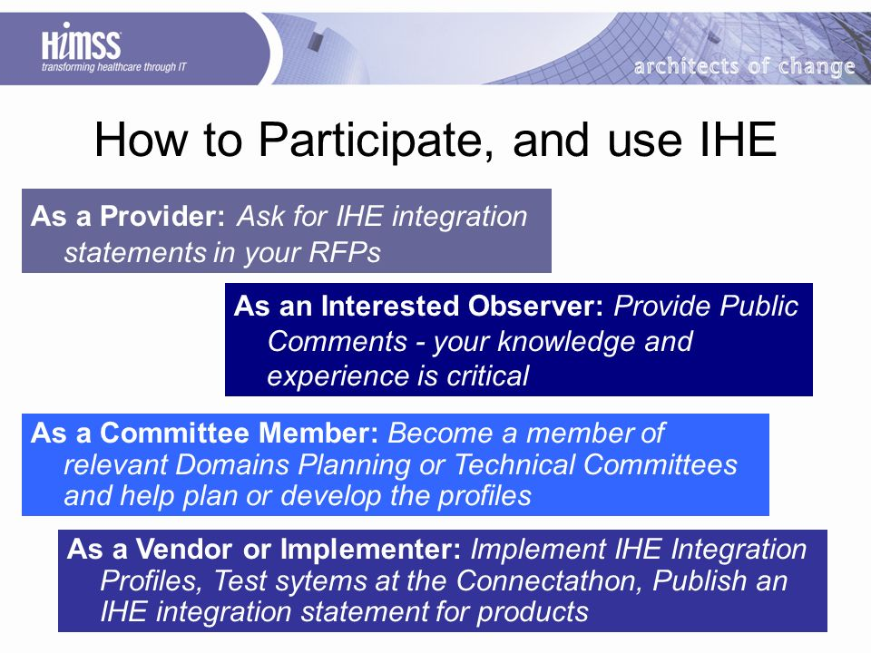 How to Participate, and use IHE As an Interested Observer: Provide Public Comments - your knowledge and experience is critical As a Provider: Ask for IHE integration statements in your RFPs As a Committee Member: Become a member of relevant Domains Planning or Technical Committees and help plan or develop the profiles As a Vendor or Implementer: Implement IHE Integration Profiles, Test sytems at the Connectathon, Publish an IHE integration statement for products