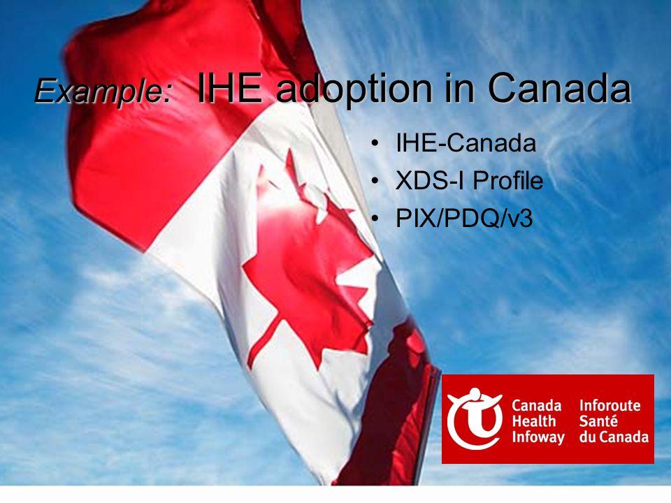 Example: IHE adoption in Canada IHE-Canada XDS-I Profile PIX/PDQ/v3
