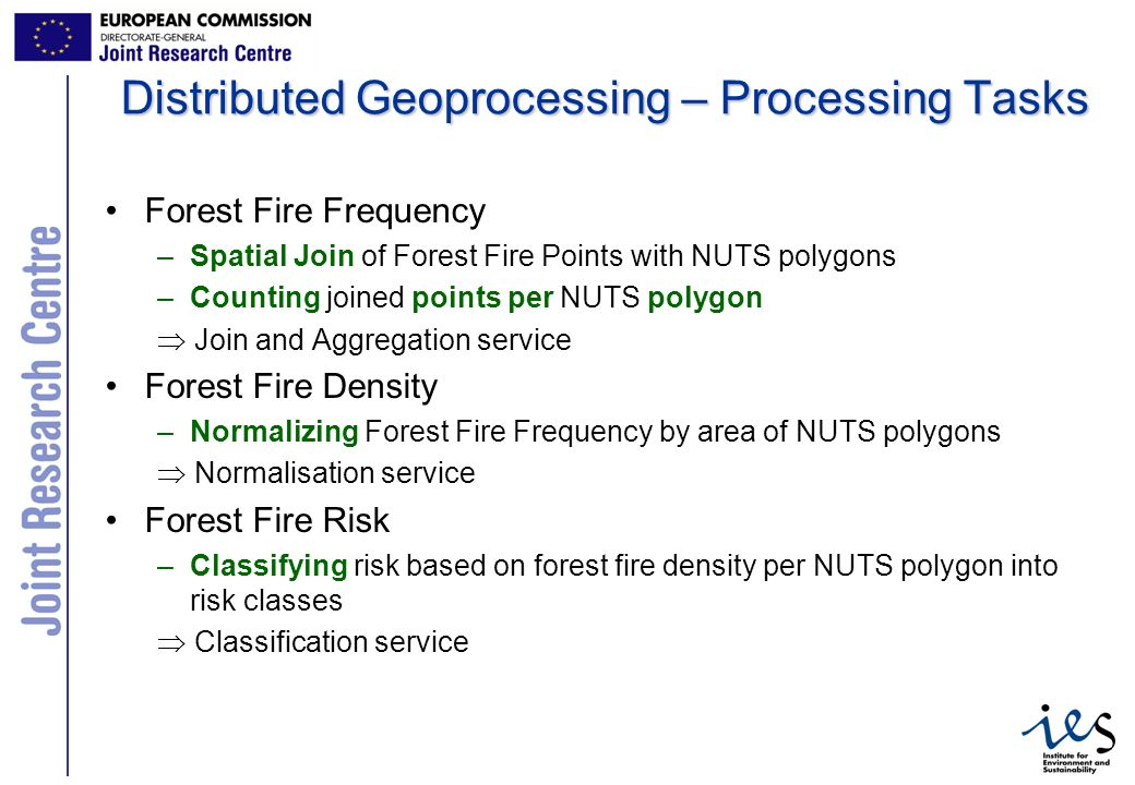 12 Distributed Geoprocessing – Processing Tasks Forest Fire Frequency –Spatial Join of Forest Fire Points with NUTS polygons –Counting joined points per NUTS polygon Join and Aggregation service Forest Fire Density –Normalizing Forest Fire Frequency by area of NUTS polygons Normalisation service Forest Fire Risk –Classifying risk based on forest fire density per NUTS polygon into risk classes Classification service