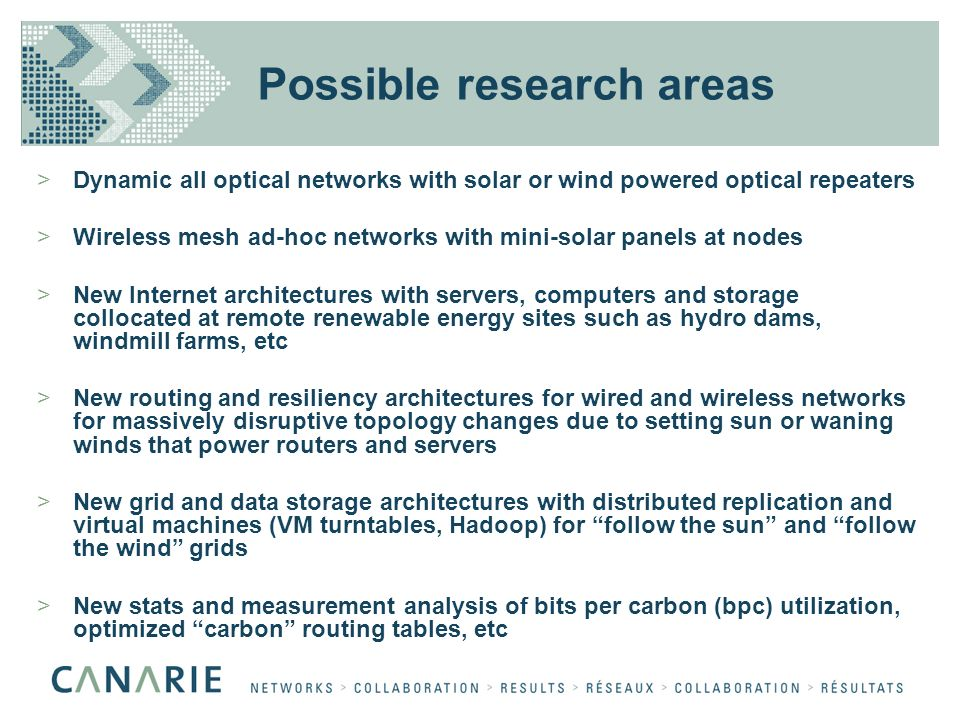 Possible research areas >Dynamic all optical networks with solar or wind powered optical repeaters >Wireless mesh ad-hoc networks with mini-solar pane