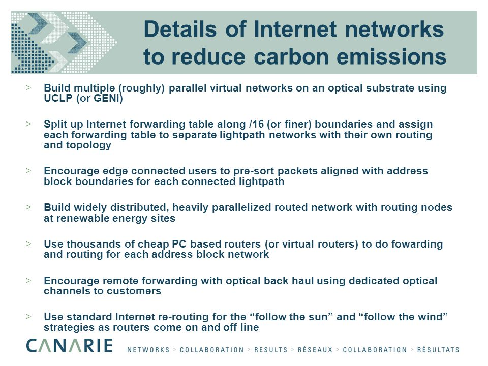 Details of Internet networks to reduce carbon emissions >Build multiple (roughly) parallel virtual networks on an optical substrate using UCLP (or GEN