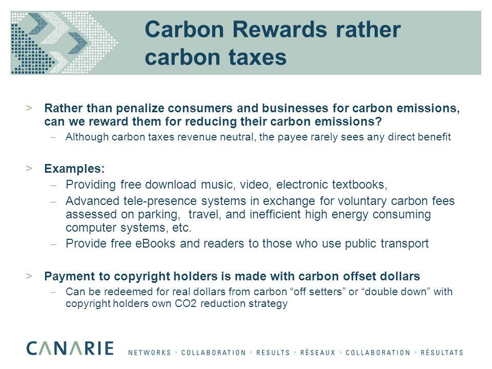 Carbon Rewards rather carbon taxes >Rather than penalize consumers and businesses for carbon emissions, can we reward them for reducing their carbon emissions.