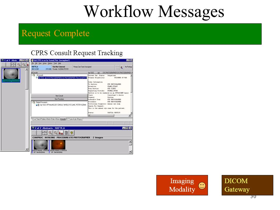 29 Workflow Messages CPRS Consult Request Tracking Image icon appears on CPRS note, and message sent to gateway Imaging Modality DICOM Gateway Image i