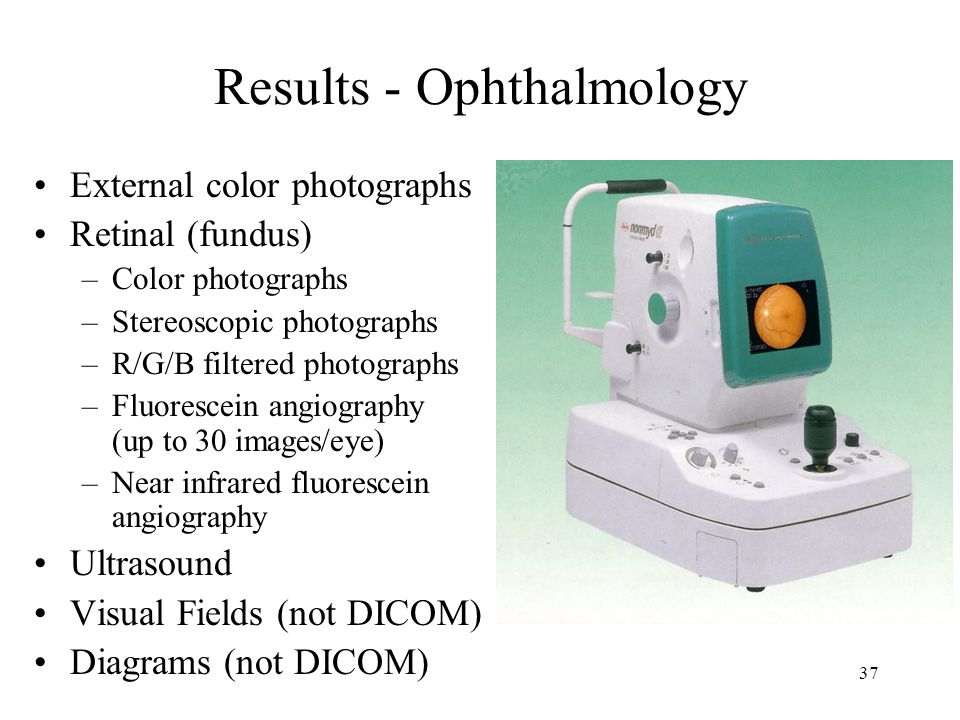 36 VAs Role in Advancement of DICOM in Ophthalmology Initially no Ophthalmology specification in DICOM Could not even tell left from right 2002 - VA e