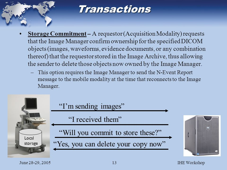 June 28-29, 2005IHE Workshop13 Transactions Storage Commitment – A requestor (Acquisition Modality) requests that the Image Manager confirm ownership for the specified DICOM objects (images, waveforms, evidence documents, or any combination thereof) that the requestor stored in the Image Archive, thus allowing the sender to delete those objects now owned by the Image Manager.