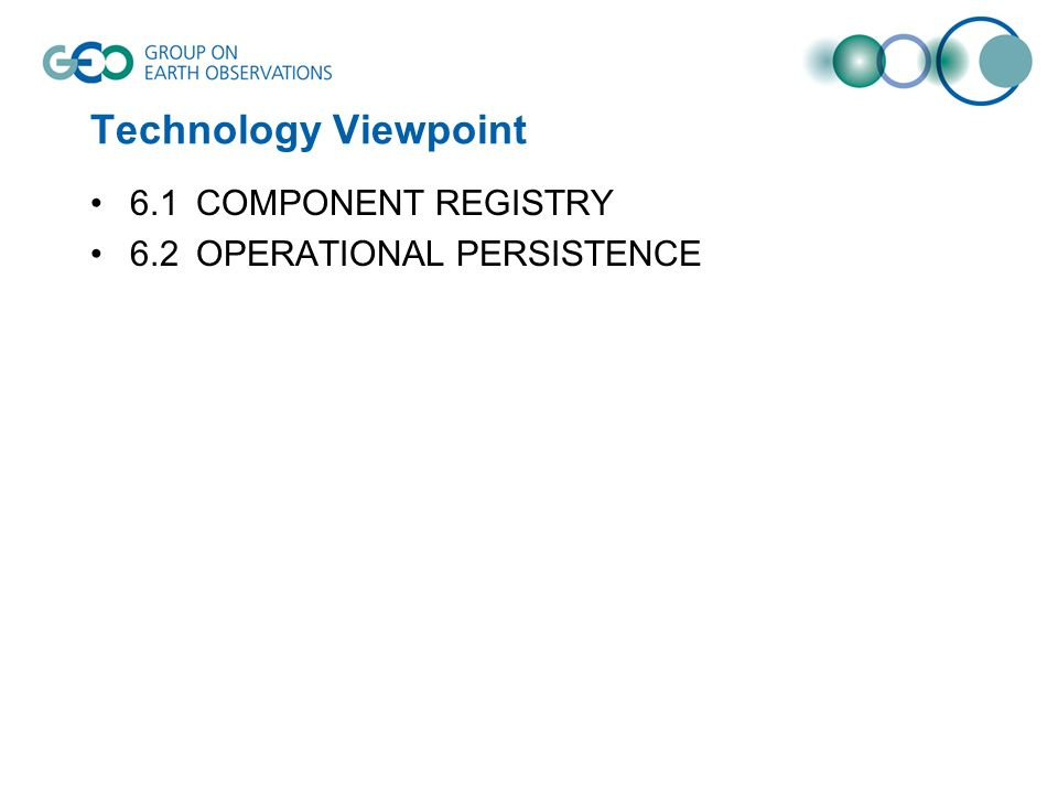 Technology Viewpoint 6.1COMPONENT REGISTRY 6.2OPERATIONAL PERSISTENCE