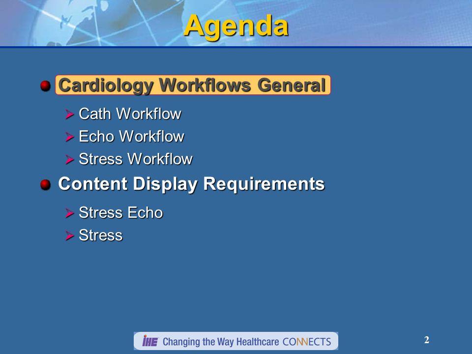 2 Agenda Cardiology Workflows General Cath Workflow Cath Workflow Echo Workflow Echo Workflow Stress Workflow Stress Workflow Content Display Requirements Stress Echo Stress Echo Stress Stress