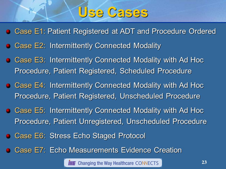 23 Use Cases Case E1: Patient Registered at ADT and Procedure Ordered Case E2: Intermittently Connected Modality Case E3: Intermittently Connected Modality with Ad Hoc Procedure, Patient Registered, Scheduled Procedure Case E4: Intermittently Connected Modality with Ad Hoc Procedure, Patient Registered, Unscheduled Procedure Case E5: Intermittently Connected Modality with Ad Hoc Procedure, Patient Unregistered, Unscheduled Procedure Case E6: Stress Echo Staged Protocol Case E7: Echo Measurements Evidence Creation