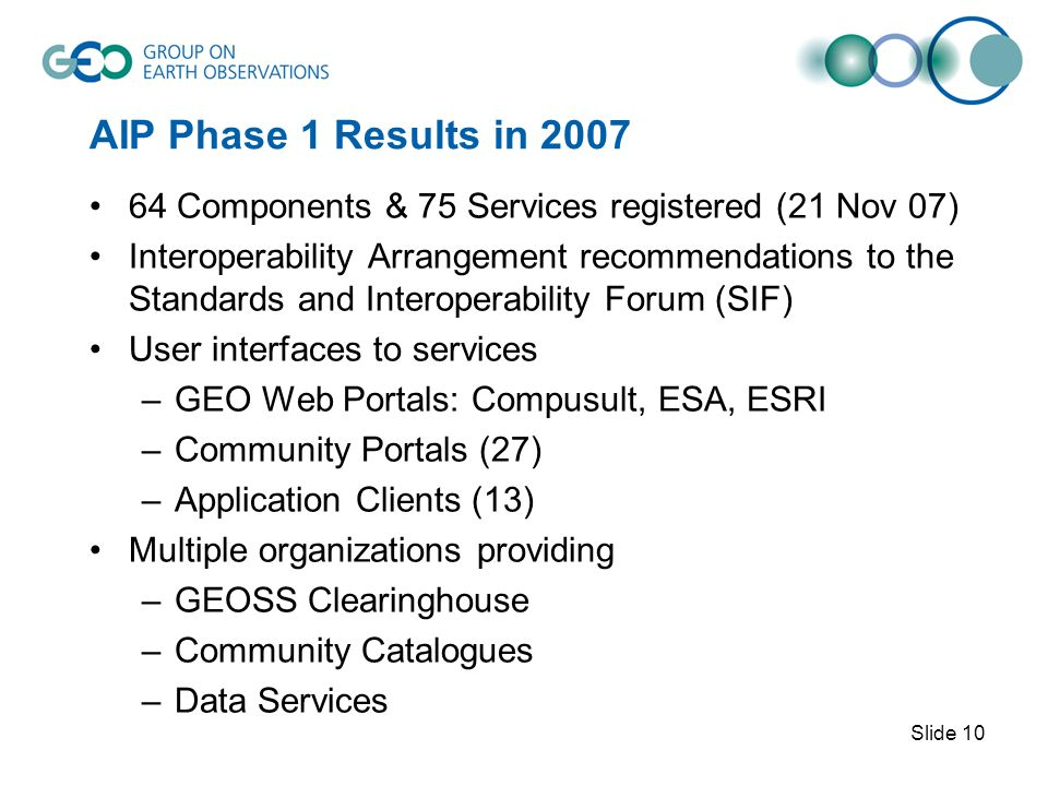 AIP Phase 1 Results in 2007 64 Components & 75 Services registered (21 Nov 07) Interoperability Arrangement recommendations to the Standards and Interoperability Forum (SIF) User interfaces to services –GEO Web Portals: Compusult, ESA, ESRI –Community Portals (27) –Application Clients (13) Multiple organizations providing –GEOSS Clearinghouse –Community Catalogues –Data Services Slide 10