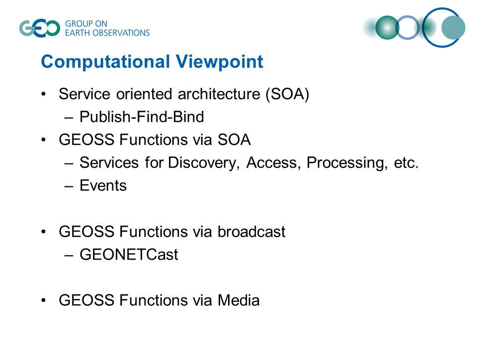 Computational Viewpoint Service oriented architecture (SOA) –Publish-Find-Bind GEOSS Functions via SOA –Services for Discovery, Access, Processing, etc.